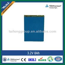 Rechargable 3.2V 8Ah LiFePO4 Battery Cell