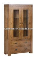 wooden glazed oak display cabinet furniture