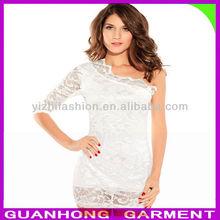 Lady une épaule dentelle robe mode robe 2013