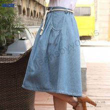 SALCAR women long skirt jeans tall lady's maxi denim dress garment factory export to North American