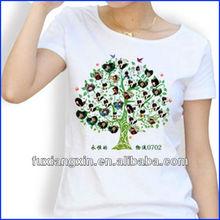 T-shirt manufacturer women t-shirt 2013 dry fit fashion street t-shirt with tree printing