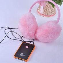 New SO pink earmuff music headphones faux fur furry music earmuffs