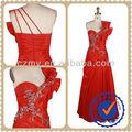 Chinês Red Bowknot moda de um ombro frisada longo casamento vestido de noite