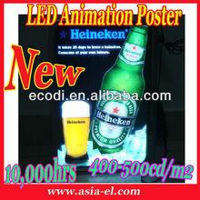 LED Flash up Poster with aluminum frame,Flashing poster panel, Flexible Flash Panel for Heineken