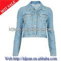 2014 caliente venta de moda de diseño de la manga larga pantalones vaqueros, mujeres chaqueta de mezclilla( ldg07)