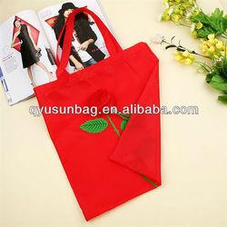 Red Rose Design Foldable Nylon Shopping Bag