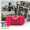 Rhinestone Closure Evening Hard Case Baguette Evening Clutch Purse With Detachable Chain