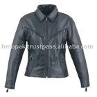 HMB-0283A LEATHER JACKETS BRAIDS COAT BLACK WOMEN MOTORBIKE FASHION