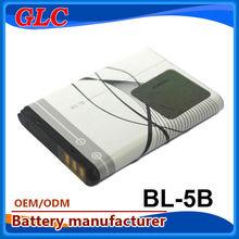 Lithium battery BL5B mobile batteries for Nokia 850mAh 3.7V offer design logo battery