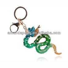 Fashion Metal Rhinstone Enamel Key Chain, Key Ring, Snake Clip Hook Keychain