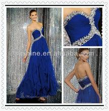YED10336 New design long chiffon beaded and ruffle skirt shiny beads elegant evening dresses