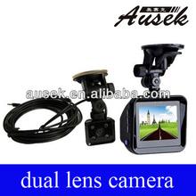 GPS car camera dual H.264 back up rearview recorder