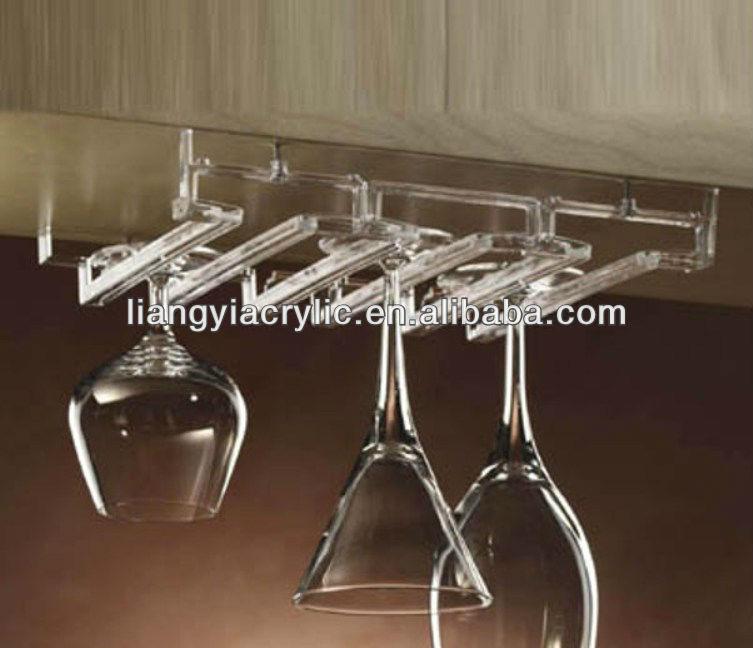 ... acrilico calici bicchiere di vino rack sotto armadio mensola occhiali