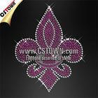 Shinning custom transfer purple fleur de lis rhinestone iron on