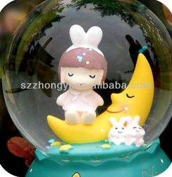 resin snow globe sleeping doll music box gifts
