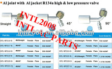 female flare beadlock hose fitting /connector/coupling with Al joint AL Jacket R134a high and low pressure value