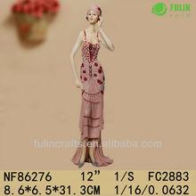 Summer Red Dress Stylish Woman Resin Figure Statues
