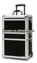 2014 new design Aluminum make up trolley beauty case in black ,trolley cosmetic case ,trolley beauty case ,size :620*330*200MM