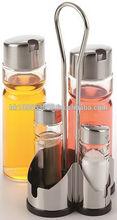 4 Pcs Tablewares Condiment Set w/Oil & Vinegar Dispenser, Salt & Pepper Shaker