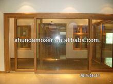 German style wood door with aluminium cladding sliding door