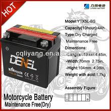Maintenance Free Motor Battery For three wheel motorcycle 12V 5AH