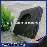 Super useful and durable square black stone slate candle holder