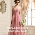 elegante y brillante vestido sin tirantes con cuentas de perlas de color rosa decorativos vestido de noche de gasa para el vestido largo de fiesta vestido de dama de honor de los patrones