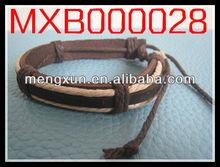 2014 Brown leather Faith Bronze anchor charm leather bracelet