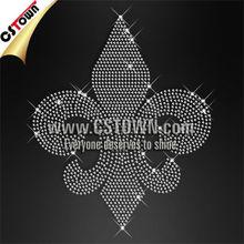 Sparkling crystal traditional rhinestone fleur de lis iron on transfer