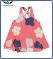 mangas soltas coral flor impresso top meninas vestidos de festa