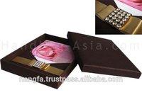 Brown Silk Wedding Invitation Box & Removable Silk Pad