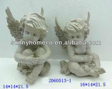 polyresin white angel sitting for garden
