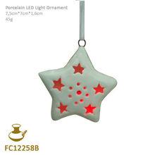 FC12258B ceramic christmas star shape hanging ornament
