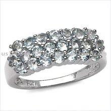 Dazzling 1.54ctw Genuine Aquamarine Silver Cluster Ring