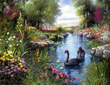 Handmade modern acrylic landscape paintings beautiful swan L083