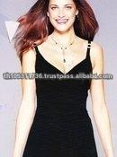 Thailand Black Spaghetti Strap Silk Evening Dress