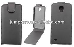 New shine leather flip case for Samsung i9295 Galaxy S4 Active black+1pcs film