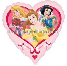 Heart princess mylar balloon custom aluminium foil balloon