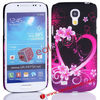 For S4 Mini Back Cases!Love Heart with Flowers Design CellPhone Case for Galaxy S4 Mini i9190