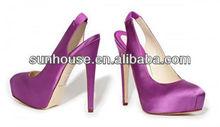 Fashion platform bridal wedding shoes with satin
