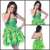 2013 New Design Sheath Sweetheart Sleeveless Chiffon Above Knee Girls Dresses Lime Green Cocktail Party Dress