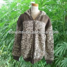 ladies coarser hand knitted long sleeve hemp wool hooded cardigan