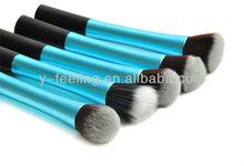 Pro Blue Powder Blush Brush Cosmetic Round+Pointy+Angled+Flat+Fiber Brush