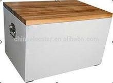 60l grano di legno con coperchio in legno/dispositivo di raffreddamento box/refrigerante con in alto porta aperta, ideale per la casa o uso esterno, stile retrò