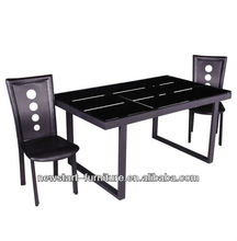 Newstart Furniture TB253 black color glass top metal frame dining table and chairs