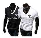 collar design men's short-sleeved T-shirt T-shirt embroidered letters R Q12