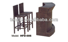 HFD-006 rattan bar table and chairs home wine bar furniture set
