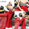 ED336 New Fashion mermaid strapless applique crystals red dress designs evening dress 2014 hot sale style high quality tari