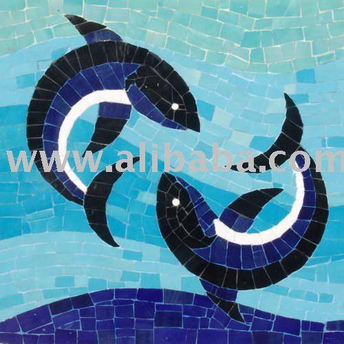 Decorazione pittura di ceramica handmade del mosaico per for Pesci finti per piscina