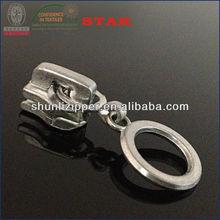 No.5auto lock metal zipper ring zipper pull nickel color plating